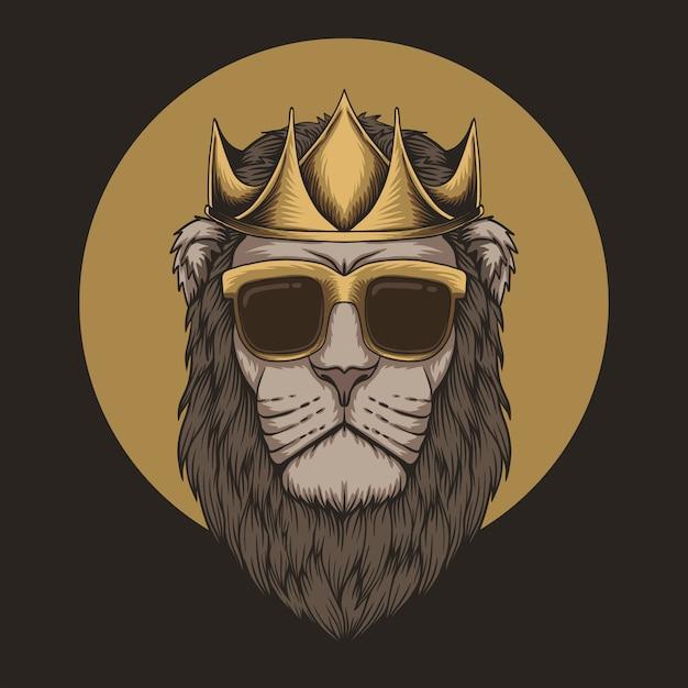 Testa di re leone corona Vettore Premium
