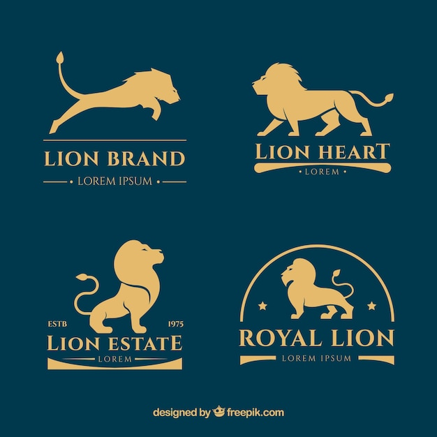 Collezione logo lion con stile d'oro Vettore Premium