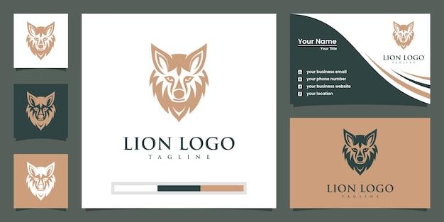 Modello di logo del leone Vettore Premium