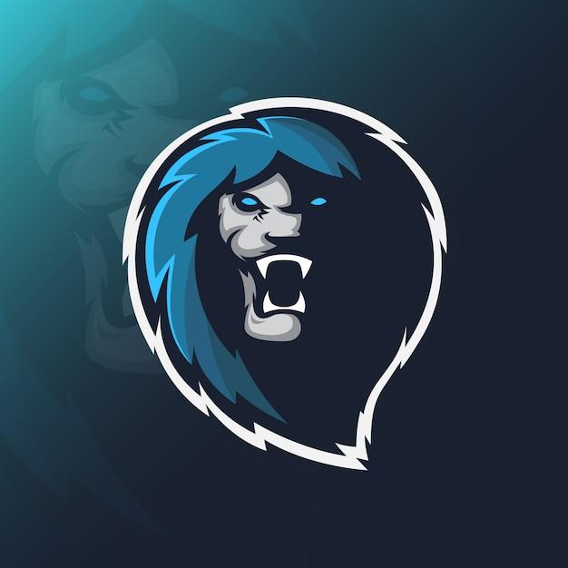 Logo della mascotte del leone Vettore Premium
