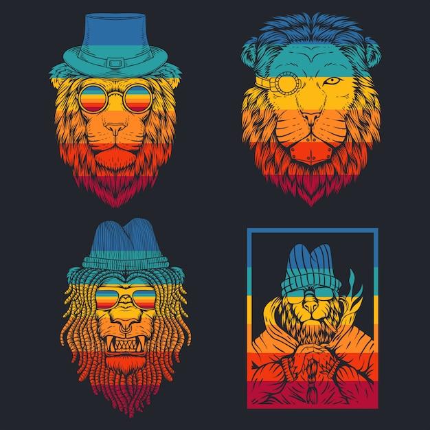Illustrazione retrò di leone Vettore Premium
