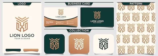 Modello di logo di lion shield linea arte muta Vettore Premium
