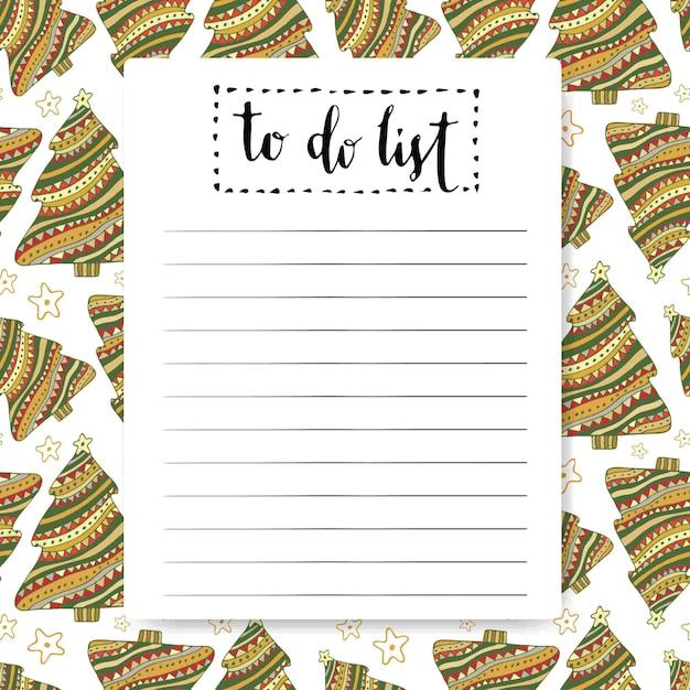 Lista di cose da fare. sfondo del nuovo anno. disegno vettoriale Vettore Premium