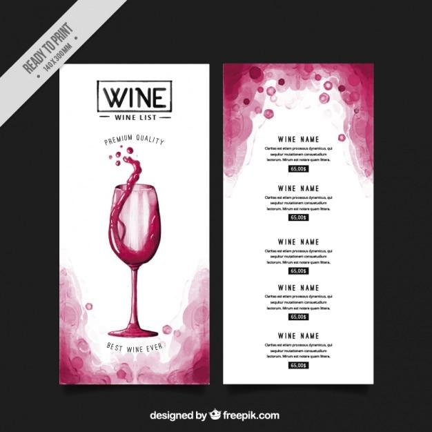 Elenco con diversi tipi di vini Vettore Premium