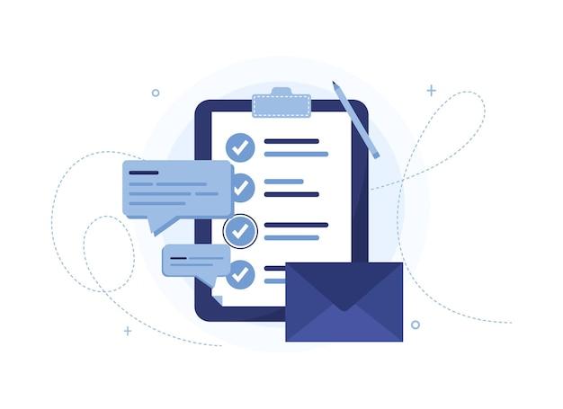 Elenco delle cose da fare con lettera, messaggi e questionario. appunti blu Vettore Premium
