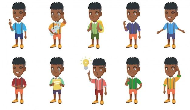 Set di caratteri del piccolo ragazzo africano Vettore Premium
