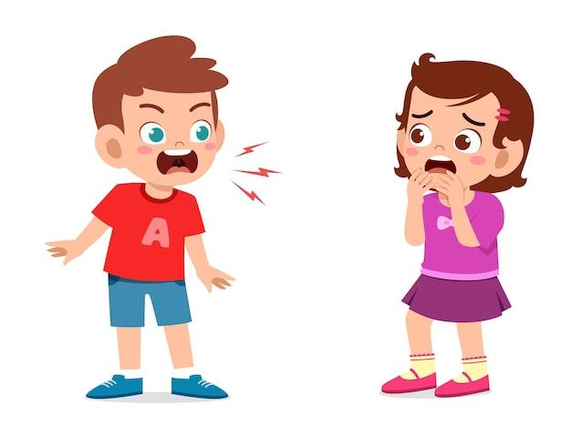 Ragazzino arrabbiato e grida alla bambina Vettore Premium