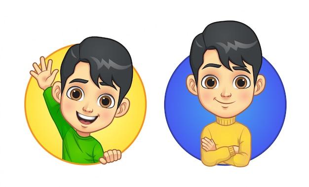 Un cartone animato ragazzino Vettore Premium