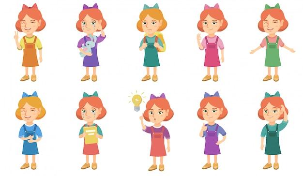Piccola serie di caratteri caucasica della ragazza Vettore Premium