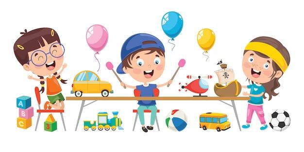 Piccoli bambini che giocano con i giocattoli Vettore Premium