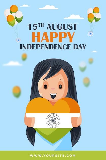 Piccola ragazza sveglia che tiene il cuore della bandiera indiana che augura il modello del manifesto di giorno dell'indipendenza felice Vettore Premium