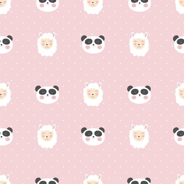 Piccolo modello senza cuciture carino panda per carta e design camicia. Vettore Premium