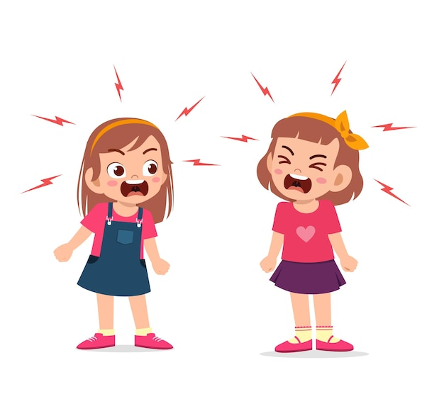 La bambina combatte e discute con la sua amica Vettore Premium