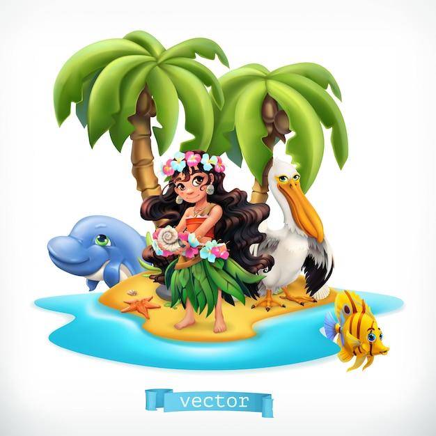Bambina e animali divertenti. isola tropicale Vettore Premium