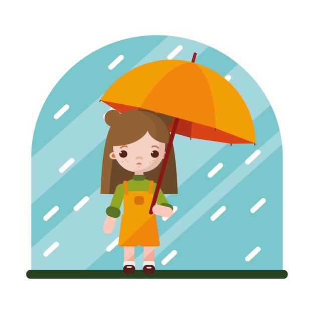 La Bambina Si E Nascosta Dalla Pioggia Sotto L Ombrello Vettore Premium