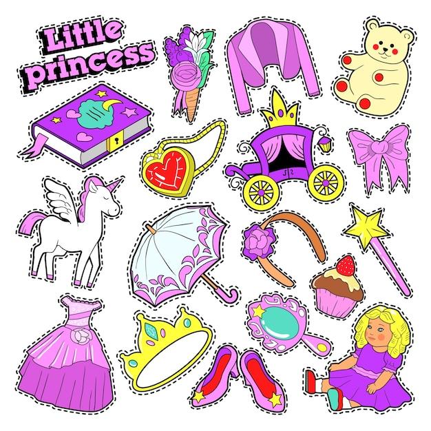 Distintivi, toppe, adesivi della principessa della bambina con giocattoli, unicorno e vestiti. scarabocchio Vettore Premium