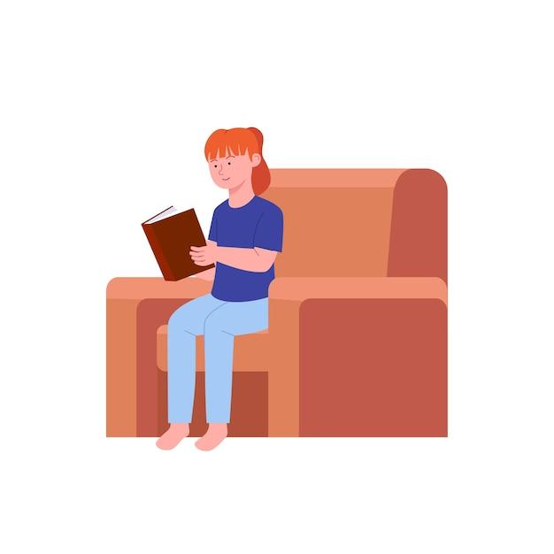 Libro di lettura della bambina nell'illustrazione del sofà Vettore Premium