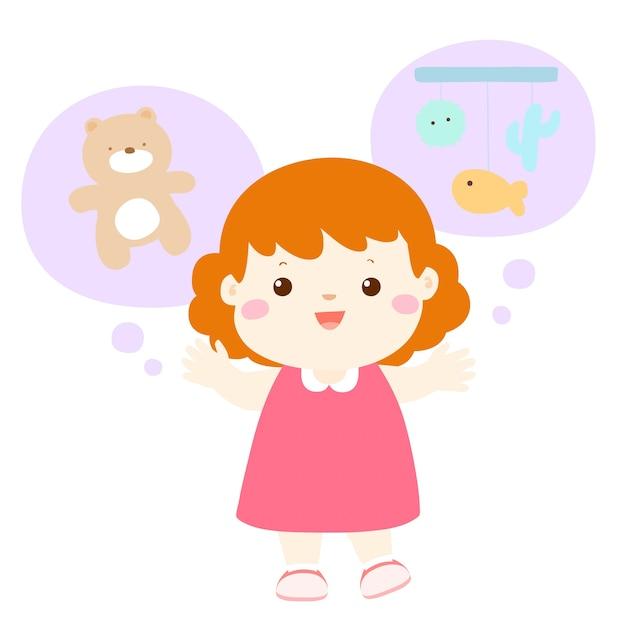 Piccola ragazza vivace cartone animato loquace Vettore Premium