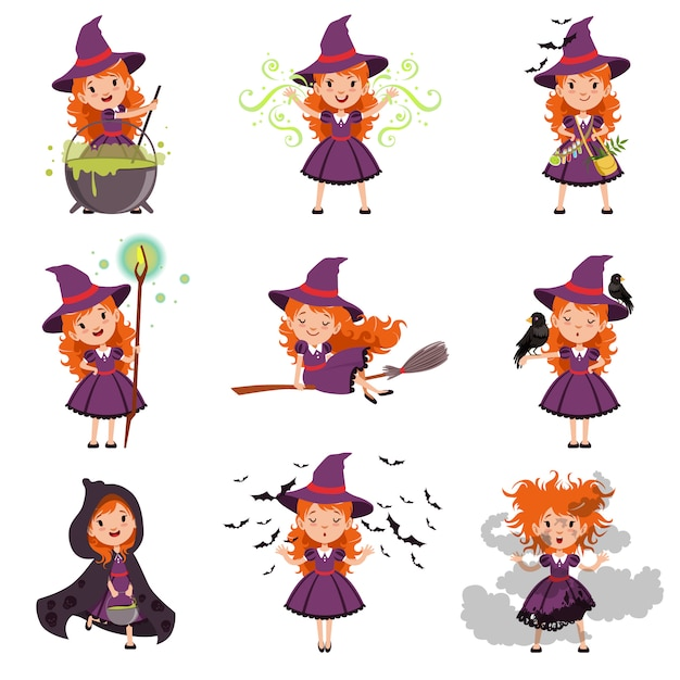 Set strega bambina indossa cappello e vestito viola Vettore Premium