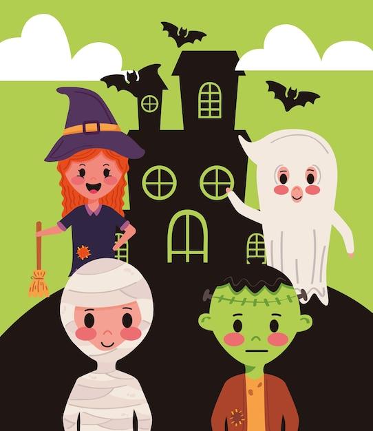 Piccolo gruppo di bambini con personaggi di costumi di halloween in casa infestata Vettore Premium