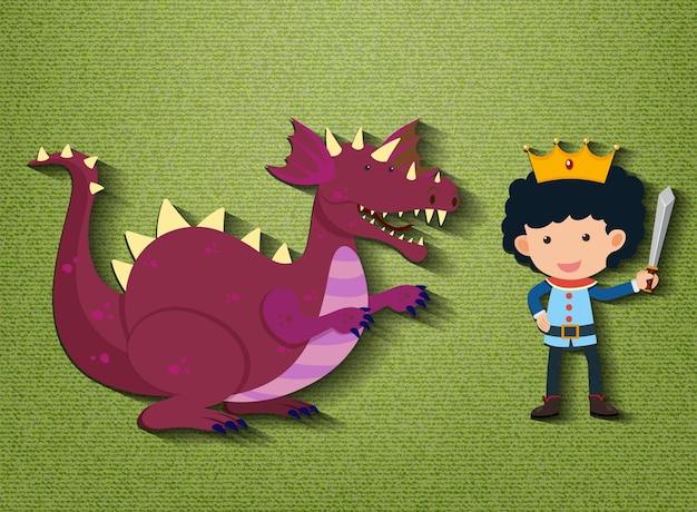 Piccolo personaggio dei cartoni animati di cavaliere e drago Vettore Premium