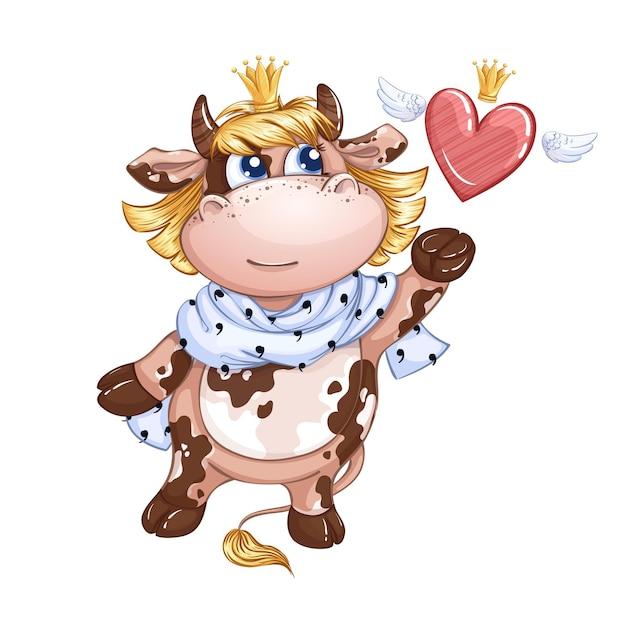 Una piccola vitella principessa con una sciarpa reale al collo lascia andare un cuore alato in una corona. Vettore Premium