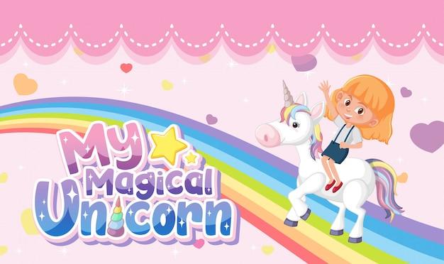 Logo della piccola principessa con ragazza cavalcando unicorno su sfondo rosa pastello Vettore Premium