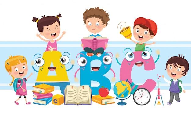 Piccoli scolari che studiano e che imparano Vettore Premium