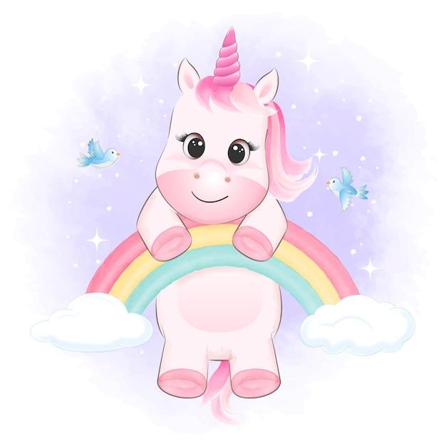 Piccolo unicorno che appende sull'illustrazione dell'acquerello degli uccelli e dell'arcobaleno Vettore Premium