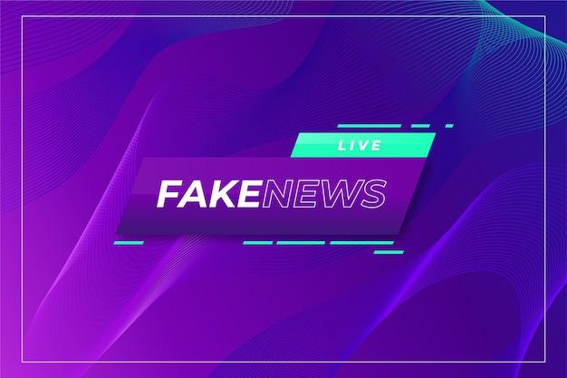 Notizie false dal vivo su sfondo viola sfumato ondulato Vettore Premium
