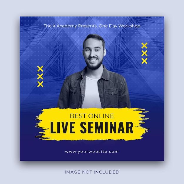 Pubblicità per seminari dal vivo di dimensioni quadrate per post su instagram Vettore Premium