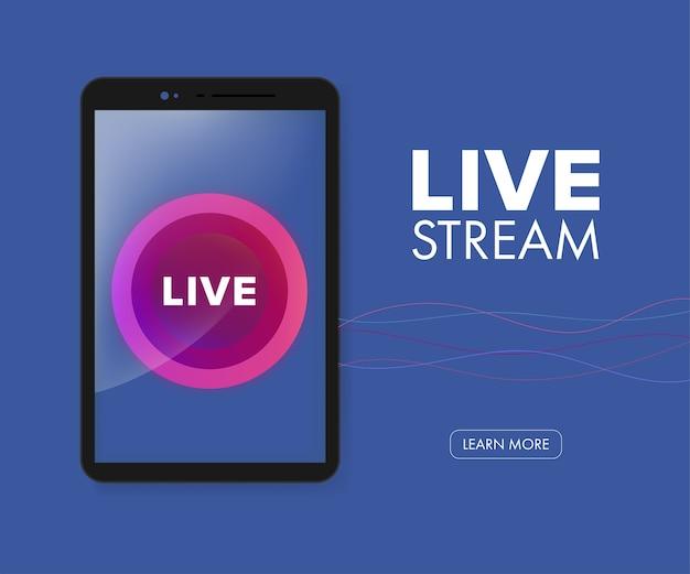 In diretta streaming icona vettoriale su applicazione mobile. Vettore Premium