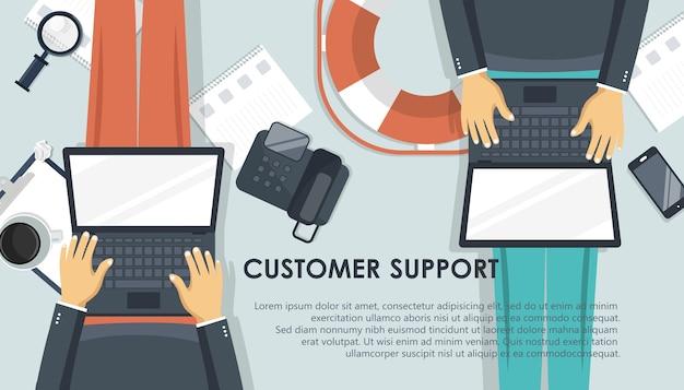 Banner di supporto dal vivo. concetto di servizio di assistenza clienti aziendali Vettore Premium