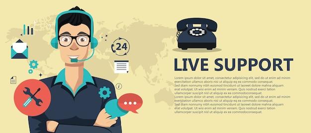 Banner di supporto dal vivo Vettore Premium