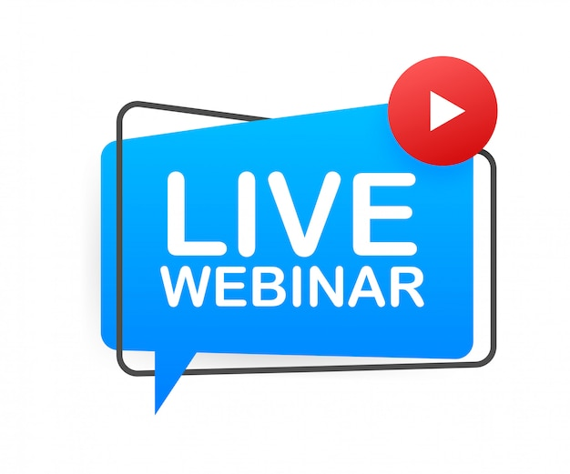 Webinar live pulsante, icona, emblema, etichetta. illustrazione. Vettore Premium