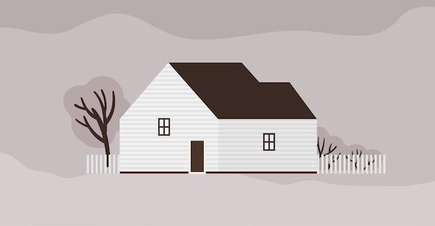 Casa o cottage vivente dell'architettura scandinava Vettore Premium