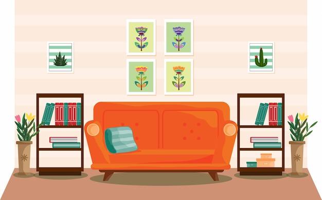 Soggiorno interior design con mobili divano libreria Vettore Premium