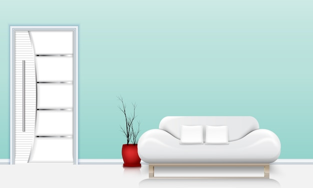 Soggiorno interior design con un divano e cuscini bianchi Vettore Premium