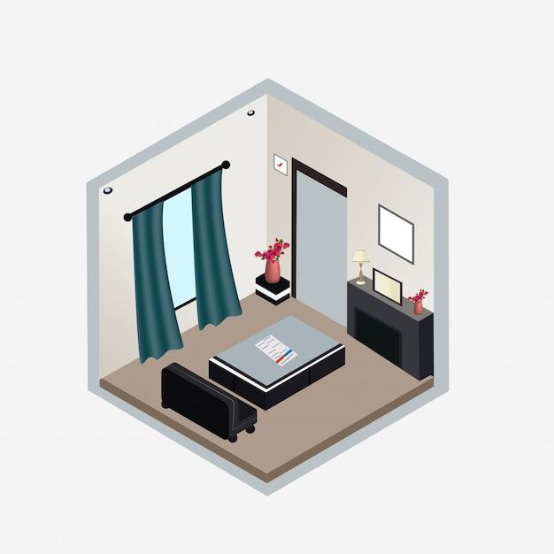 Soggiorno design isometrico interno. Vettore Premium