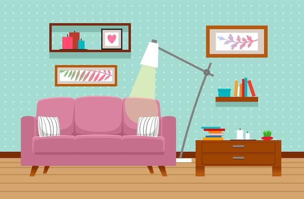 Interno soggiorno con divano, tavolo, lampada. Vettore Premium