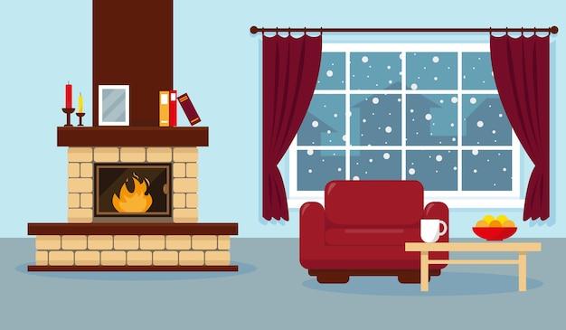 Soggiorno con illustrazione della finestra Vettore Premium