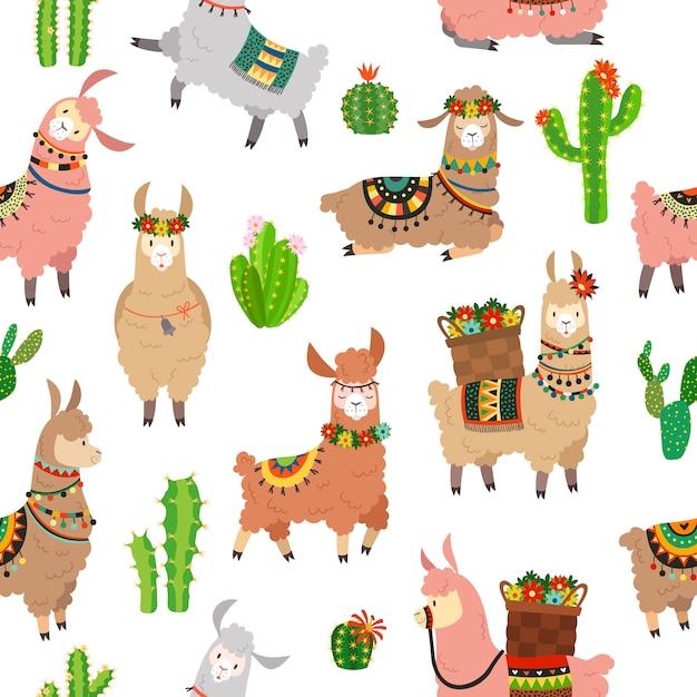 Modello senza saldatura lama. lama per bambini carino alpaca e cactus lama selvaggia. Vettore Premium
