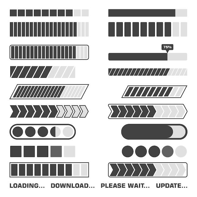 Set di icone di processo di caricamento. scarica e carica il segno indicatore, i simboli in attesa. illustrazione. Vettore Premium