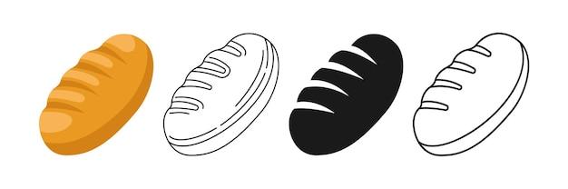 Pagnotta di pane, linea e glifo, set di icone del fumetto negozio di panetteria fresca disegnata a mano Vettore Premium
