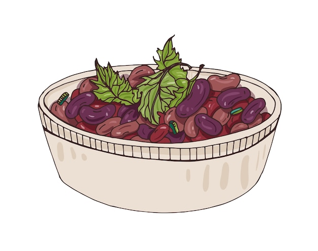 Lobio in una ciotola decorata con coriandolo. delizioso pasto georgiano vegetariano a base di fagioli stufati. gustoso piatto vegetariano della cucina caucasica Vettore Premium
