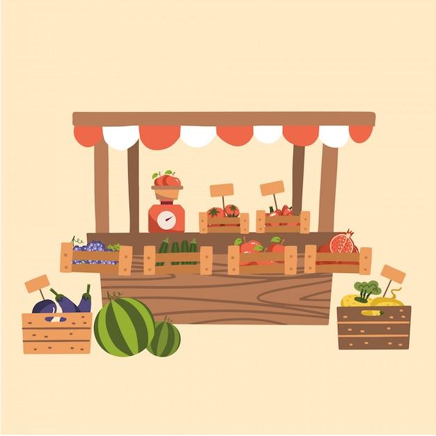 Prodotti autunnali locali al mercato degli agricoltori. frutta e verdura biologiche alla bancarella del mercato in legno. contatore con le scale. illustrazione piatta. Vettore Premium