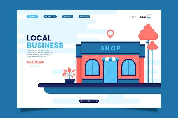 Modello di pagina di destinazione di attività commerciali locali Vettore Premium