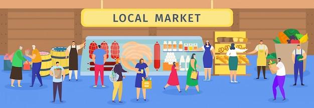 Mercato alimentare locale, shopping di persone dei cartoni animati, personaggi di donna uomo acquisto da carne di agricoltori, pane o verdure Vettore Premium