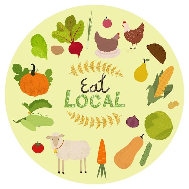 Set di icone di produzione biologica locale. animali da fattoria, frutta e verdura illustrazione isolata. Vettore Premium
