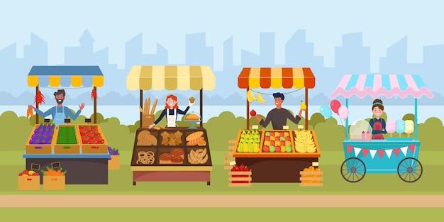 Piatto di mercato del cibo di strada locale. mercato di generi alimentari all'aperto sul marciapiede. Vettore Premium